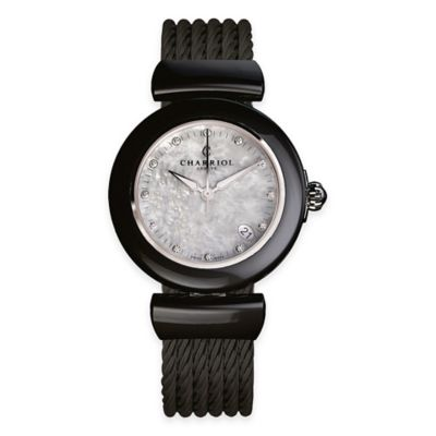 Charriol AEL Ladies' 33mm Watch in Black Ceramic with Mother of Pearl Dial