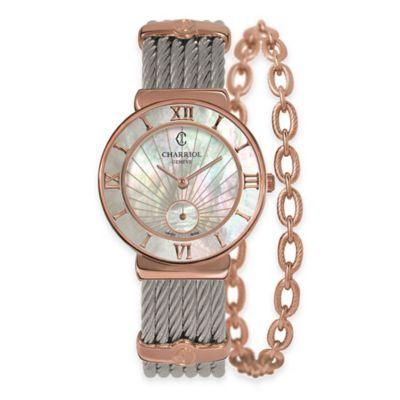 Charriol 30mm Rose Gold-Plated Mother of Pearl Watch in Stainless Steel w Link Chain Accent