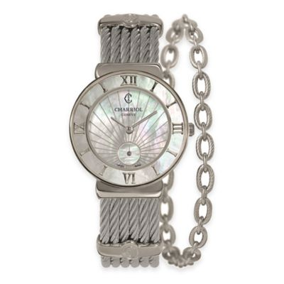 Charriol 30mm Mother of Pearl Watch in Stainless Steel with Link Chain Accent