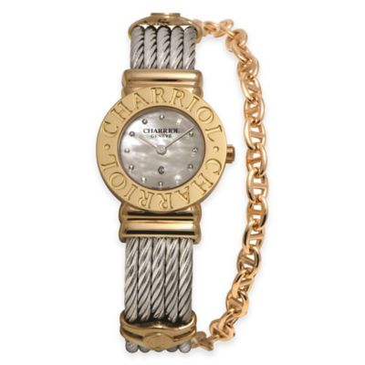 Charriol 24.5mm Gold-Plated Diamond/Mother of Pearl Watch in Stainless Steel w Chain Accent