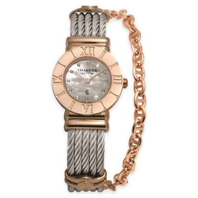 Charriol 24.5mm Rose Gold-Plated Diamond/Mother of Pearl Watch in Stainless Steel w Chain
