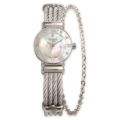 Charriol 24.5mm Diamond and Mother of Pearl Watch in Stainless Steel w Chain Accent