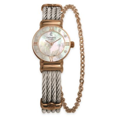 Charriol 24.5mm Rose Gold-Plated Mother of Pearl Watch in Stainless Steel w/Chain Accent