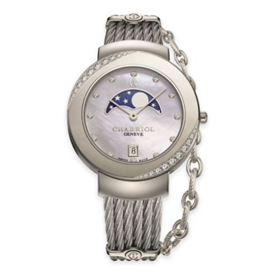 Charriol Ladies' Diamond Moonphase Watch in Stainless Steel with Chain Accent