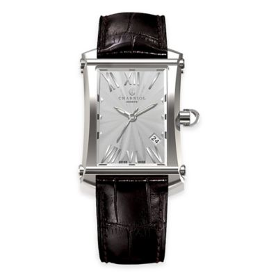 Charriol COLVMBVS™ Cintre Convexe Men's Rectangular Watch with Black Leather Strap