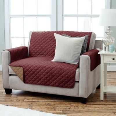 Burgundy/Taupe Loveseat Slipcovers
