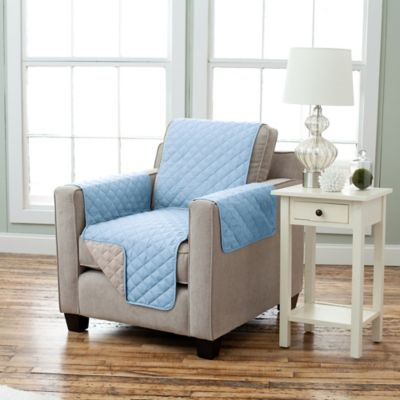 Kaylee Collection Reversible Chair-Size Furniture Protector in Marine/Linen