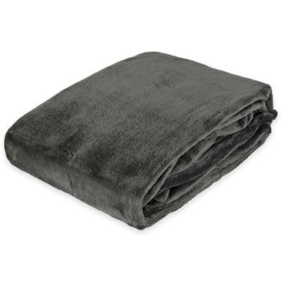 Plush Velvet Throw Blanket in Graphite