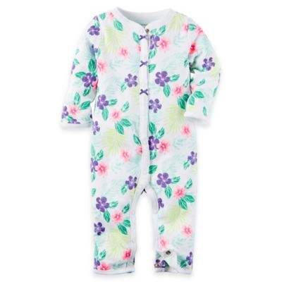 carter's® Size 6M Floral Footless Coverall in Purple/Green