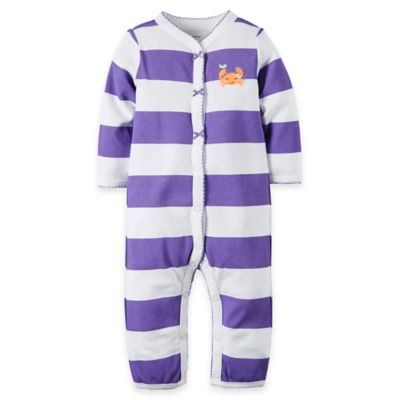 carter's® Size 6M Crab Striped Footless Coverall in Purple/White