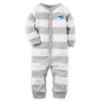 carter's® Newborn Shark Footless Coverall in Grey/White