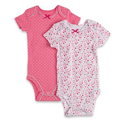 Sterling Baby Size 3M Floral/Dot Short Sleeve Bodysuits (2-Pack) in Pink