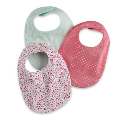 Sterling Baby Newborn 3-Pack Floral/Solid/Dot Bibs in Pink/Mint