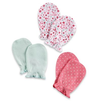 Sterling Baby Newborn 3-Pack Floral/Solid/Dot Mitts in Pink/Mint