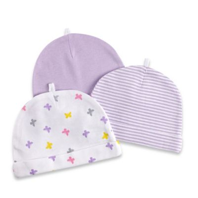 Sterling Baby 3-Pack Stripe/Butterfly/Solid Hats in White/Lavender