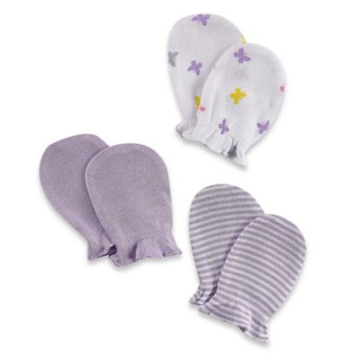 Sterling Baby 3-Pack Mitts in White/Lavender