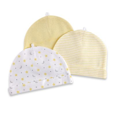 Sterling Baby 3-Pack Stripe/Moon and Star/Solid Hats in Yellow/Grey
