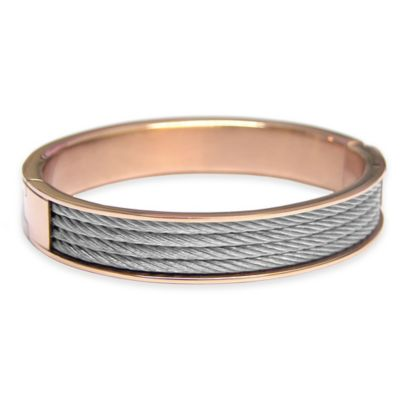 Charriol Rose-Plated Stainless Steel Cable Size Large Unisex Forever Bangle
