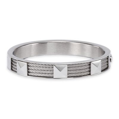 Charriol Stainless Steel Cable Size Large Forever Stud Bangle in Silver