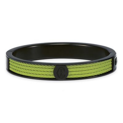 Charriol Black Stainless Steel Large Unisex Forever Cable Bangle in Light Green
