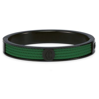 Charriol Black Stainless Steel Large Unisex Forever Cable Bangle in Green