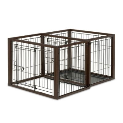Flip-to-Play Small Convertible Pet Crate in Brown