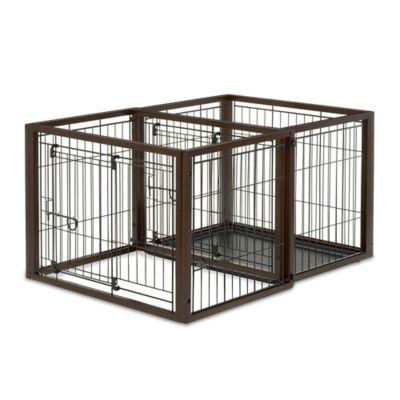 Flip-to-Play Medium Convertible Pet Crate in Brown