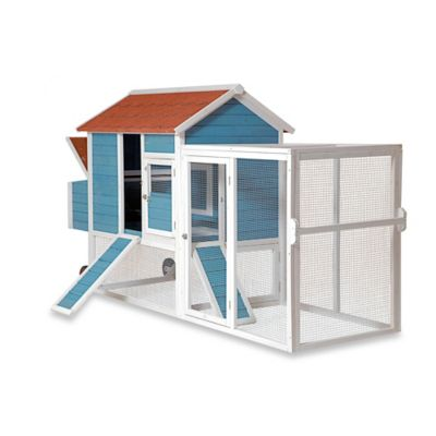 The Tractor House Poultry Hutch with Outdoor Courtyard in Blue/White