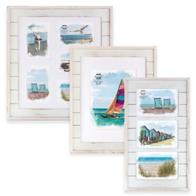 Prinz Driftwood 3-Photo 5-Inch x 7-Inch Wood Plank Collage Frame in White