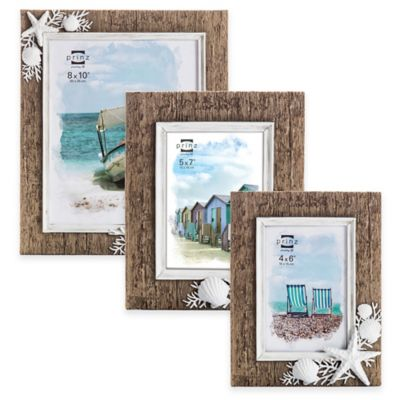"""Prinz Sandpiper 2-Photo 4-Inch x 6-Inch """"The Beach is My Happy Place"""" Resin Shell Frame in Natural"""