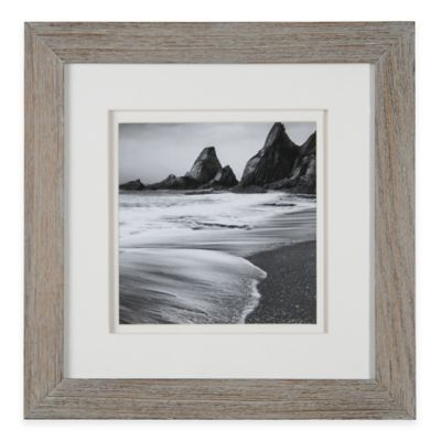 Real Simple® 8-Inch x 8-Inch Wood Portrait Frame in Grey Wash with White Double Mat