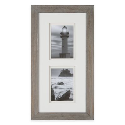 Real Simple® 2-Photo 5-Inch x 7-Inch Wood Portrait Frame in Grey Wash with White Double Mat
