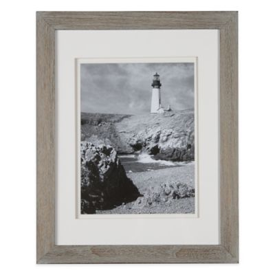 Real Simple® 10-Inch x 13-Inch Wood Portrait Frame in Grey Wash with White Double Mat