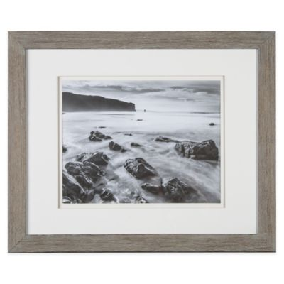 Real Simple® 11-Inch x 14-Inch Wood Portrait Frame in Grey Wash with White Double Mat