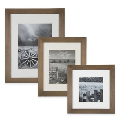 Real Simple® 8-Inch x 8-Inch Wood Portrait Frame in Natural with Off-White Double Mat