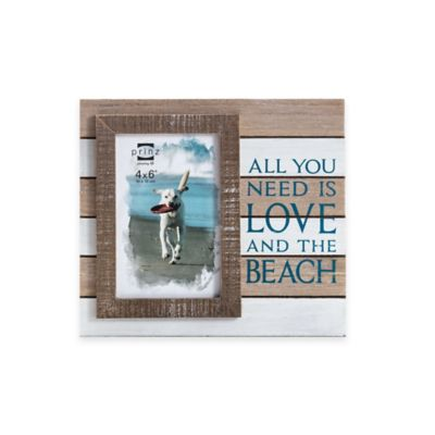 "Prinz Coastal 4-Inch x 6-Inch ""Love and the Beach"" Sentiment Wood Frame in Natural"