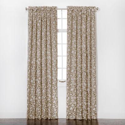 Eleanor 84-Inch Rod Pocket Chenille Window Curtain Panel Pair in Beige