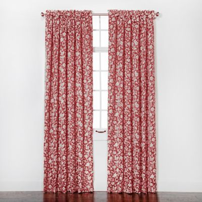 Eleanor 84-Inch Rod Pocket Chenille Window Curtain Panel Pair in Scarlet