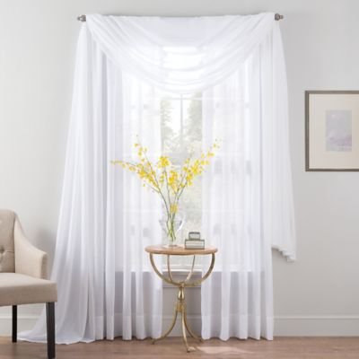 Smart Sheer™ Insulated Linen Voile Scarf Window Valance in White
