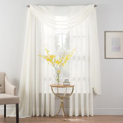 Smart Sheer™ 63-Inch Insulated Crushed Voile Rod Pocket Sheer Window Curtain Panel in White