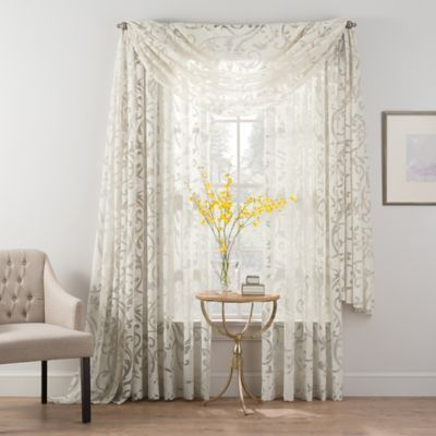 Smart Sheer™ Insulated Burnout Voile Scarf Window Valance in Natural