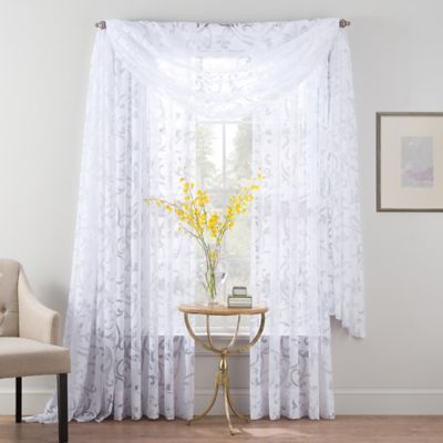 Smart Sheer™ 63-Inch Insulated Burnout Voile Rod Pocket Sheer Window Curtain Panel in White