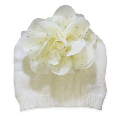 Curls and Pearls Size 0-12M Glitter Flower Hat in Ivory