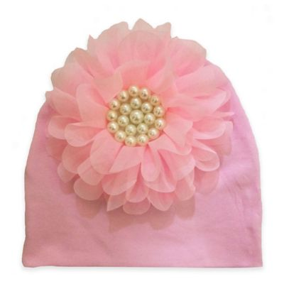 Curls and Pearls Size 0-12M Pearl Flower Hat in Pink