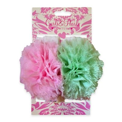 Curls & Pearls 2-Pack Pouf Headwrap in Pink/Green