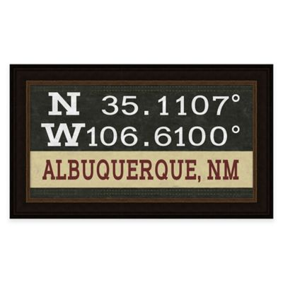 Framed Giclée Albuquerque, NM Coordinates Print Wall Art