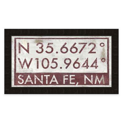 Framed Giclée Santa Fe, NM Coordinates Print Wall Art