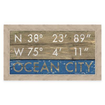 Framed Giclée Ocean City Coordinates Print Wall Art