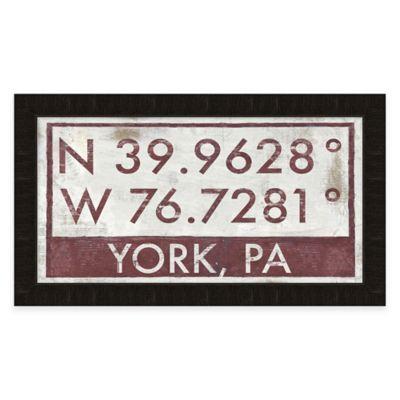 Framed Giclée York, PA Coordinates Print Wall Art