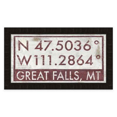 Framed Giclée Great Falls, MT Coordinates Print Wall Art